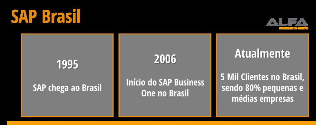 1995 - SAP Chega ao Brasil. 2006 - inicio SAP Business One no Brasil 2015-2016 - 5 Mil Clientes no Brasil - 80% pequenas e médias empresas