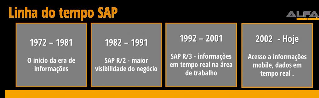 1972 - 1981 - O inicío da era de informações 1982-1991 - SAP R/2 - maior visibilidade do negócio 1992-2001 - SAP R/3 - informações em tempo real na área de trabalho 2002-Atualmente - Acesso a informações mobile, dados em tempo real quando precisar.